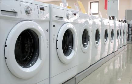 Vit, frontmatad tvättmaskin